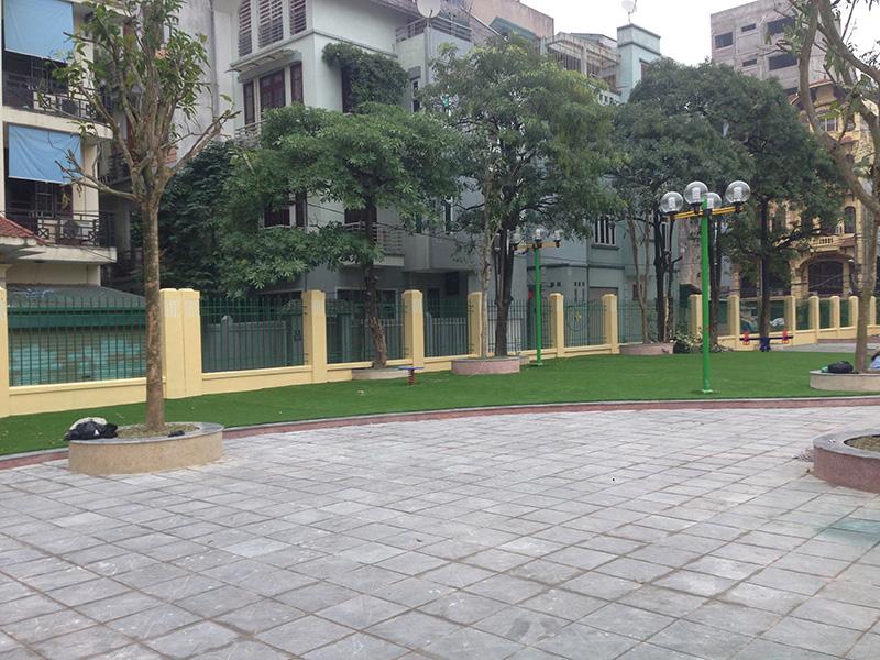 quanh sân được làm từ cỏ nhân tạo của Phương Thành Ngọc